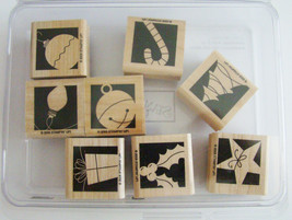 Stampin Up ~ Holiday Blocks ~ 8 Wood Mounted Rubber Stamps ~ 2005 ~ NEW ~ Retire - $9.65