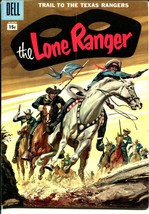 Lone Ranger #105 1957-Dell-painted cover-Texas Rangers-15¢ variant-VG+ - $94.58