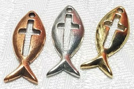FISH WITH CROSS FINE PEWTER PENDANT CHARM - 9mm L x 21mm W x 2mm D