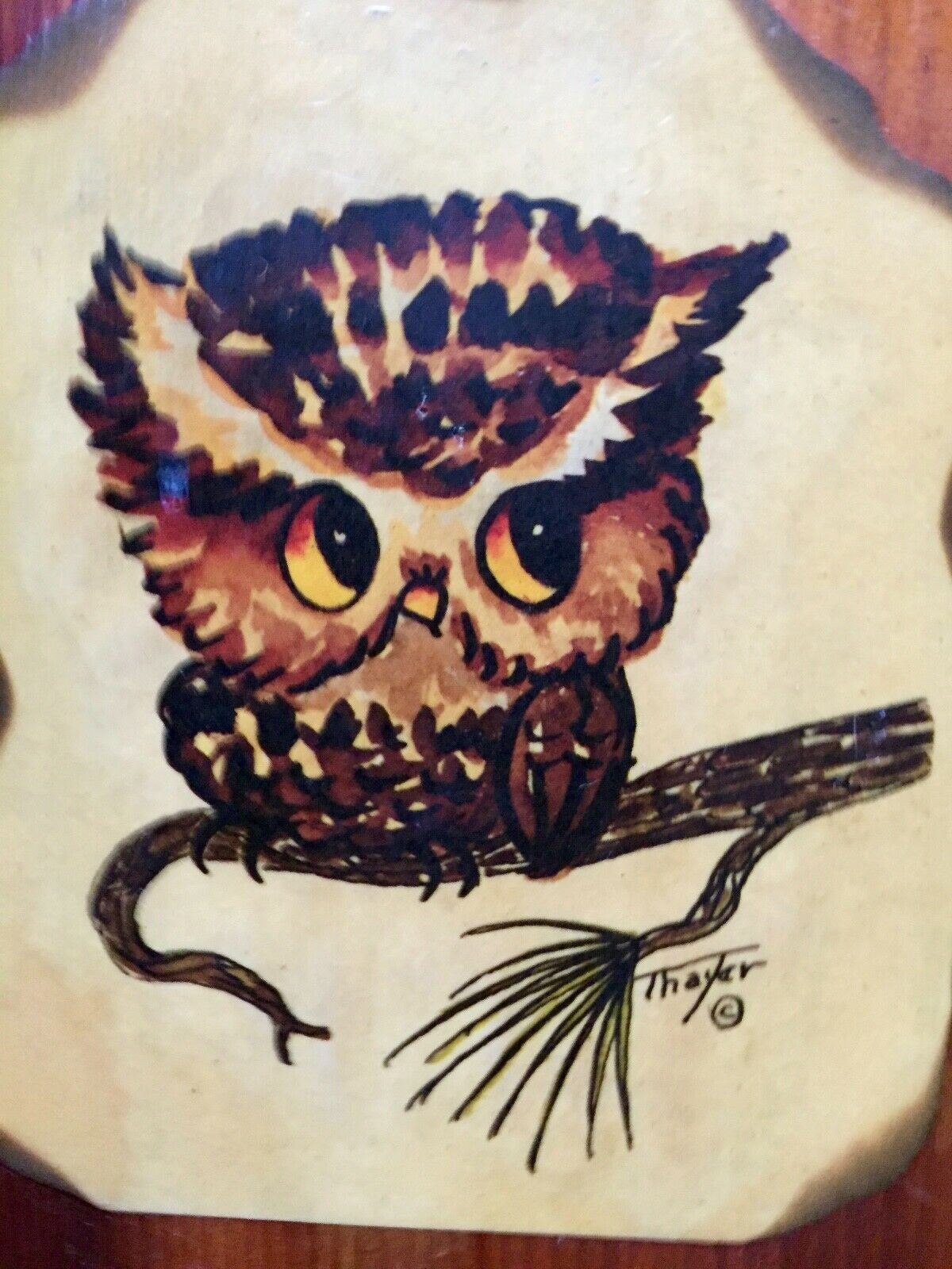 Primary image for Vintage Owl Picture Plaque Wooden Wall Decor Thayer Farmhouse, Rustic, Cabin
