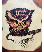 Vintage Owl Picture Plaque Wooden Wall Decor Thayer Farmhouse, Rustic, C... - $20.00