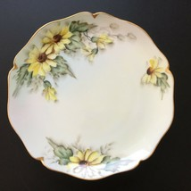 Antique Limoges Wm Guerin Hand Painted Black Eyed Susan Yellow Daisy Pla... - $45.00
