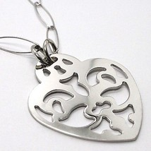 925 Silver Necklace Chain Oval, Heart perforated plate, pendant image 2