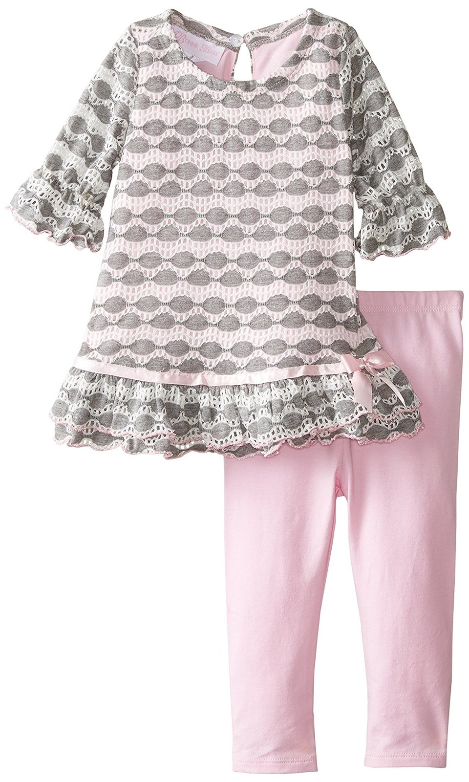 Bonnie Jean Baby Girl 3M-9M Pink/grey Perforated Knit Dress/legging Set