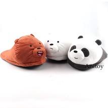 We Bare Bears Cartoon Bear Grizzly Panda Ice Bear Adult Plush Slippers W... - $17.50