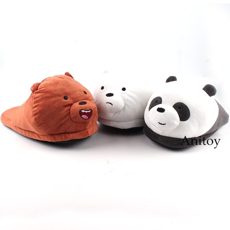 We Bare Bears Cartoon Bear Grizzly Panda Ice Bear Adult Plush Slippers Winter In