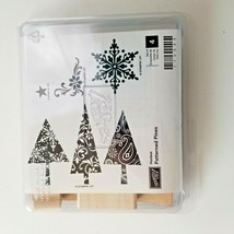Stampin Up Patterned Pines Stamp Set EUC 4 Stamps - $14.50