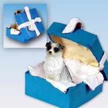 Australian Shepherd Blue Gift Box Blue Ornament - $14.99