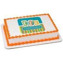 Feliz Cumpleanos Edible Cake Topper Image - $9.99+
