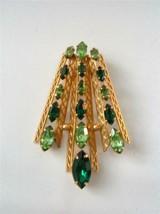 Vintage Van Dell Gold Filled Green Rhinestone Modernist Pendant Fan Xmas... - £20.98 GBP