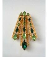 Vintage Van Dell Gold Filled Green Rhinestone Modernist Pendant Fan Xmas... - $29.69