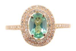 14k Rose Gold .66ct Green Genuine Natural Tourmaline Ring with Diamonds ... - $616.25