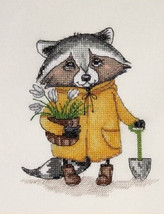 Counted Cross Stitch Hand Embroidery Kit Cute Raccoon Gardener - $13.71