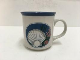 Otagiri Japan Vintage Blue/White Embossed Seashell Scallop Coffee Mug  - $18.69