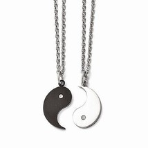 STAINLESS STEEL YIN & YANG NECKLACE SET W/ CZ - 2 YIN YANG NECKLACES- PA... - $46.13