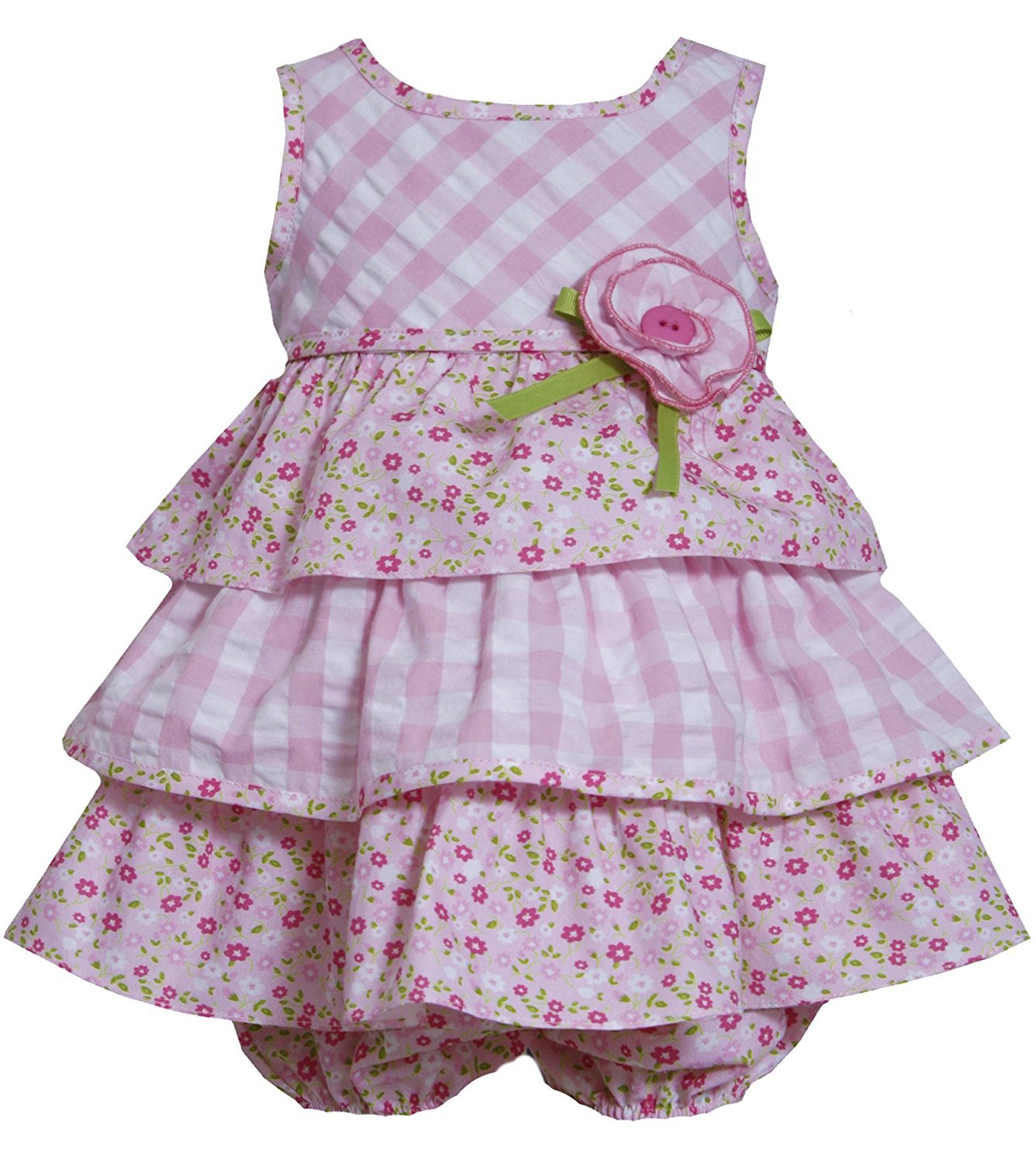 Bonnie Jean Baby Girl 12M-24M Pink White Check Floral Mix Print Tier Dress