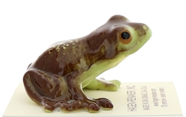 Hagen-Renaker Miniature Ceramic Frog Figurine Brown Frog with Curious Grin