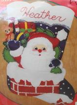 BUCILLA Santa DOWN THE CHIMNEY Jeweled Needlework Christmas Felt Stockin... - $30.00
