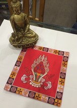 Tibetan Red Norbu silk brocade table cover/ altar cloth/ shrine placemat... - $13.00