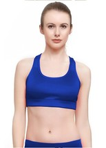 NEW W SPORT WOMEN'S ATHLETIC GYM SPORT WORKOUT BRA CROP TOP COBALT BLUE AP-4823