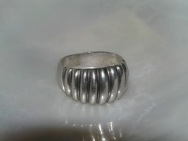 Estate 925 Marked Sterling Silver Ridged Domed Ring Band Size 5.75 – wid... - $15.70