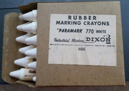VINTAGE Dixon Rubber Marking Crayons Box of 12 New Old Stock #770 - $8.56