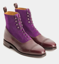 Handmade Men's Brown Leather and Purple Suede High Ankle Lace up Two Tone Boots image 3