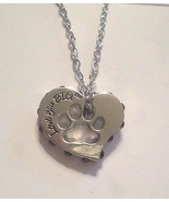 Purple-stone-edged silver LOVE YOU BIG heart necklace w/paw cutout GIFT BAG - $3.95