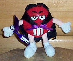 """M & M's Candy Red Plush 6"""" Unhappy Halloween Trick or Treater in Black Cape - $7.77"""