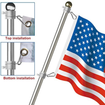 Aluminum Alloy Flag Pole Kit Rings 360 Degree Rotating Spinning 2 Pack S... - $14.23