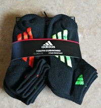 Adidas Boys Low Cut Socks sz 13C-4Y Ankle Cushioned 6 Pairs Moisture Wic... - $13.85