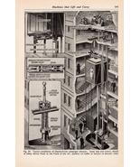 Elevator Shaft Diagram Print Machines Machinery Gears Steampunk 1943 Wal... - $14.99