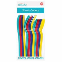 Assorted Colorful Plastic Cutlery Set for 8 Guests 24 Piece Spoons Knive... - $2.92