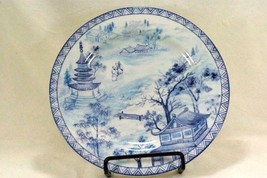 American Atelier 2009 Asian Blue Salad Plate With  2 men Talking  #5025 - $8.99
