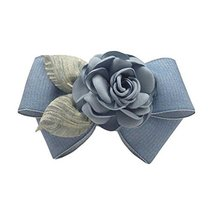 Blue Grey Cloth Hair Bow Handmade Barrettes Rose Hair Barrette Bowknot Ponytail