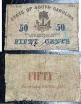 1863 The Bank of the State of South Carolina Fifty Cents Rear Overprint - $58.41