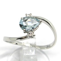 18K WHITE GOLD BAND RING AQUAMARINE 0.60 DROP CUT & DIAMONDS, MADE IN ITALY image 2