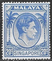 1952 King George VI Singapore Postage Stamp Catalog Number 13 MNH