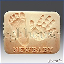 2D Silicone Soap Mold - New Baby - Baby Hand & Baby Foot - FREE SHIPPING - $29.62