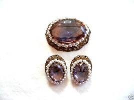Vintage 1930s 40s Czech Filigree Pink Glass & Faux Pearls Brooch PIN - $45.58