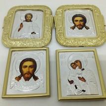 Lot of 4 Vintage Miniature Framed Religious Art Stick ons Jesus Madonna - $12.56