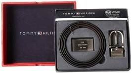 BRAND NEW TOMMY HILFIGER MEN'S SET REVERSIBLE LEATHER BELT REMOVABLE BUCKLE