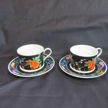 Mikasa Ikebana (Flower Arrangement) Pair Cup & Saucers, Cathy Hardwick - $21.51