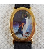 Macaroni Penguin Watch Oval Face Black Leather Band - $14.81