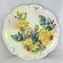 """Platter AK Limoges France Hand Painted Yellow Roses Gold Gilded 13"""" Sign... - $99.00"""