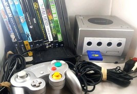 Nintendo GameCube Platinum Console Controller 12 Game Lot Tested Working Cords - $178.19