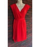 Ann Taylor Loft V-Neck Sleeveless Red Dress Size Small Tie Waist  - $32.59
