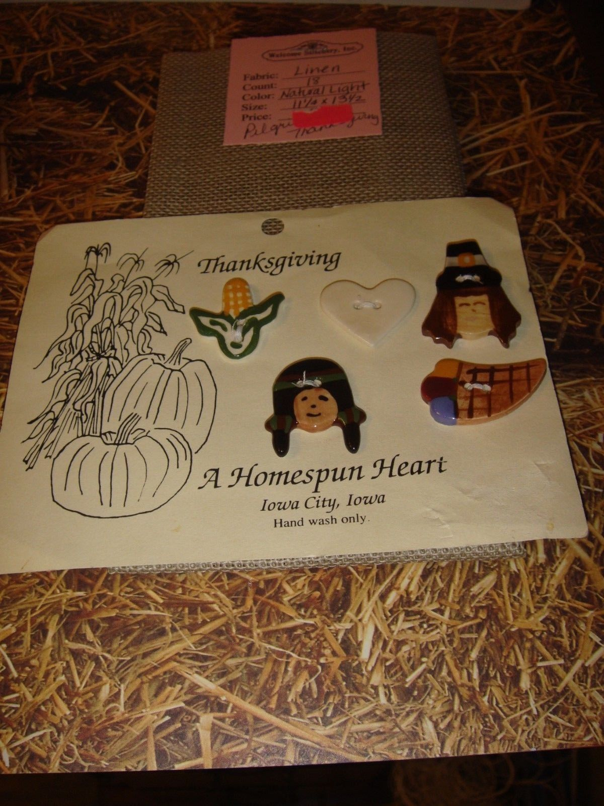 Shepards Bush Pattern Book, 18ct. Fabric And Homespun Heart Thanksgiving Buttons image 3
