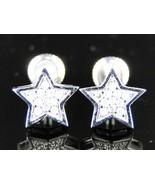 10K White Gold Fn Mens/Ladies Star Shape Simulated Diamond Stud Earrings - $79.99