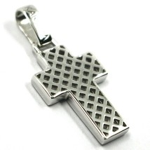 "18K WHITE GOLD SQUARED CROSS PENDANT, STRIPED, CHECKED, PERFORATED 0.9"", 2.2 CM image 2"